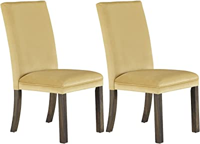 Benzara BM186218 Fabric Upholstered Wooden Dining Chair Ivory and Brown