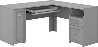 Bush Furniture Fairview L Shaped Desk with Drawers and Storage Cabinet, 60W, Cape Cod Gray