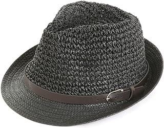 LONGren Western Cowboy Leisure Straw Hat Men's Summer Outdoor Sports Shade Sunscreen Sun Hat Beach Cool Hat (Color : Black)