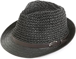LPKH Visor Cap Cowboy Leisure Straw Hat Men's Summer Outdoor Sports Shade Sunscreen Sun Hat Beach Cool Hat hat (Color : Black)