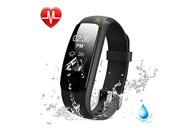 27192bfdc60ed9 Lintelek Fitness Tracker, 107Plus Heart Rate Monitor Activity Tracker,  Stopwatch, Relax,14 Sports Modes,IP67 Waterproof Pedometer Wristband for  Kids, ...
