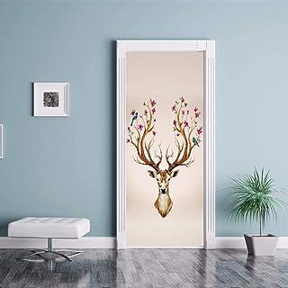 Couleur autocollants muraux motif cerf sika autocollant imperméable vieille porte rénovation porte autocollants accessoire...