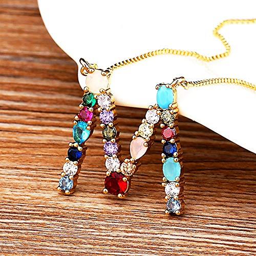 JIUXIAO Collar con Cz de Cobre con Inicial de arcoíris, Colgantes de 26 Letras para Mujer, Accesorios, Cadena de Color Dorado, Collar con Nombre, joyería