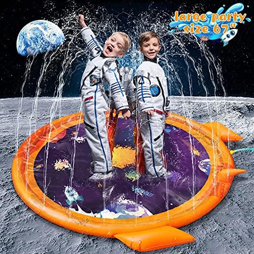 Xhaus Splash Pad, Outdoor Sprinkler for Kids, 67'' Non-Slip Splash Play Mat Baby Shallow Pool Summer Outside Beach Water Toys for Toddlers Kids Children Boys Girls Adults (Universe Planet)