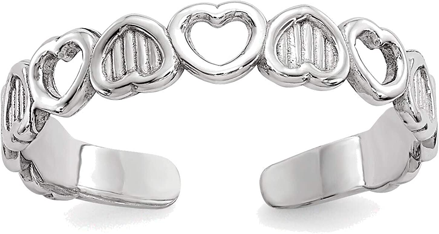 Bonyak Jewelry 14kt White Gold Polished Hearts Toe Ring in Size 11