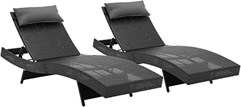 Gardeon Outoodr Sun Lounge Furniture Garden Patio Beach Pool Chair Wicker Rattan-Black x 2