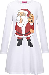 Soluo Womens Long Sleeve Cocktail Swing Xmas Dress Casual Printed Flare Party Dresses Plus Size Aline Party Ugly Dress