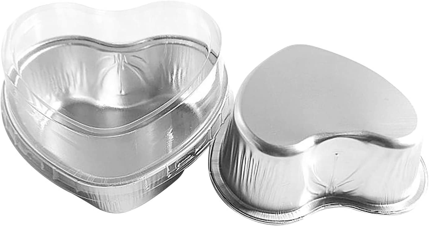 Disposable Aluminum Mini Max 90% OFF Heart Shaped Easy-to-use Pans wit Dessert Cake