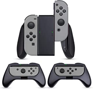 Nintendo switch ジョイコン (3個セット)【HeysTop】ニンテンドースイッチ コントローラー switch ハンドル Joy Conグリップ 装着簡単/反応素早い/精密寸法/作動中ランプ付き (ブラック)