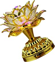 FRCOLOR Golden LED Buddha Lamp Lotus Shaped Lamp Ornament Desktop Buddhist Light Battery Operated Lotus Altar Lamp Buddhis...
