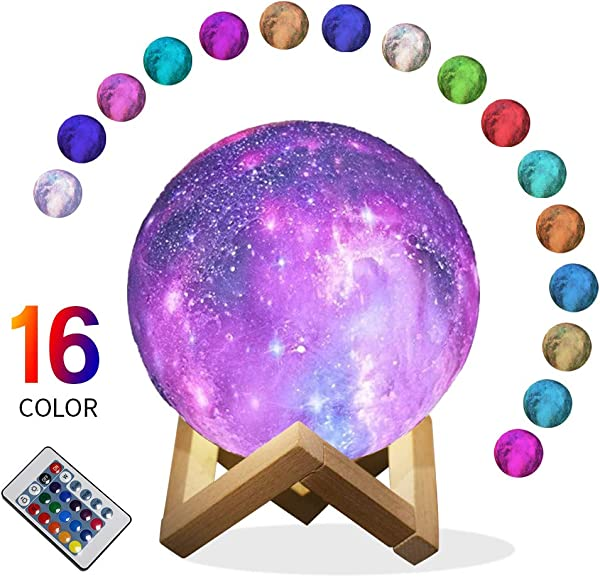 Star Night Light For Kids Galaxy Moon Lamp 16 Colors LED 3D Print Moon Light With Stand Remote Touch Control And USB Rechargeable Projector Night Lights Gift For Women Baby Kids Lover Birthday Party