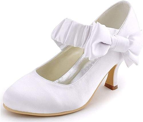 Qiusa Correa de Tobillo con Pliegues para Damas con Nudo Satinado zapatos de Fiesta de Bodas encantadores (Color   blanco-6.5cm Heel, tamaño   4.5 UK)