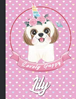 Lily Personalized cute Kawaii lovely Puppy Dog Sketchbook For Girls With their Name,Kindergarten to Early Childhood School...