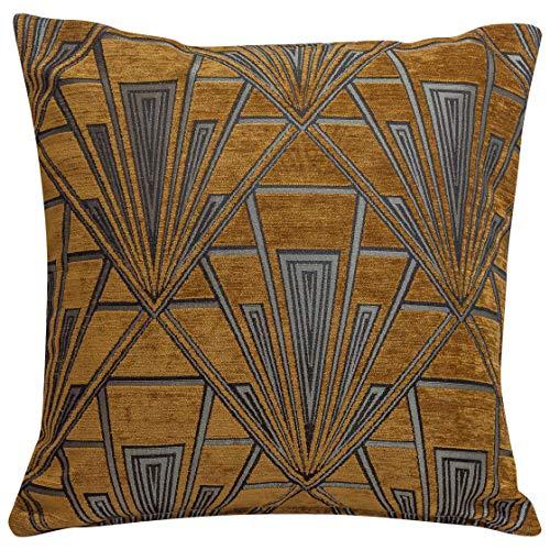 Funda de cojín Art Deco. Chenilla de terciopelo de doble cara. Diseño retro dorado y plateado. Almohada cuadrada de 17 x 17 pulgadas. Diseño geométrico atrevido. Estilo 20s y 30s.