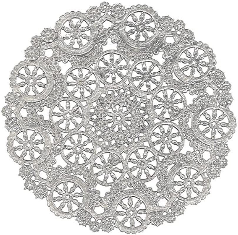 Royal Lace Round Foil Doilies Silver 8 Inch Pack Of 12 B26505