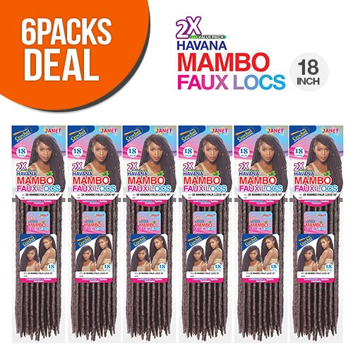Janet Collection Synthetic Hair Crochet Braids 2X Havana Mambo Faux Locs 18' (6-Pack, 1B)