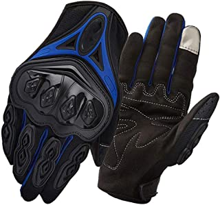 JCCOZ Touch Screen Gloves Motorcycle Gloves Thin Section Breathable Riding Anti-Fall All-Finger Waterproof Windproof Touch Screen Gloves (Color : Blue, Size : XL)