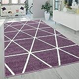 Alfombra Salón Pelo Corto Moderna Diseño Geométrico Motivo Rombos Lila, tamaño:120x170 cm