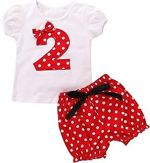 Toddler Girls Polka Dot Birthday Cake Smash Clothes Set Short Sleeve T-Shirt Top and Pants 2pcs Outfits Playwear 12M-6Y