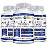 Research Verified Apple Cider Vinegar 1600mg  100% Pure Vegan Mother ACV Capsules  with Bioperine 180 Capsules (3 Months Supply)