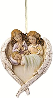 Sleeping Baby with Guardian Angels in Wings Heart Shaped Ornament, 3 1/4 Inch