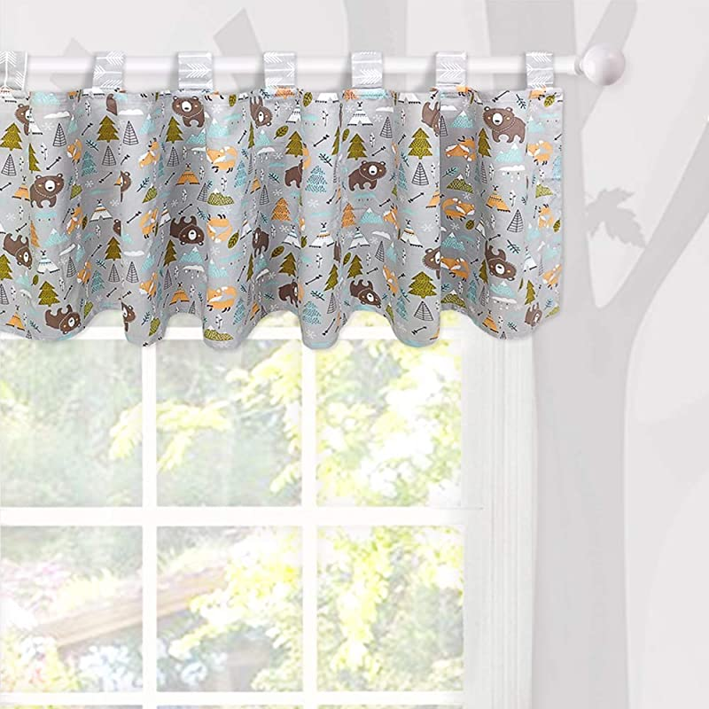 Brandream Window Valance Cotton Curtain For Baby Toddler Kid Bedroom Bath Laundry Living Room Decor Woodland Bear Fox Arrow Pattern