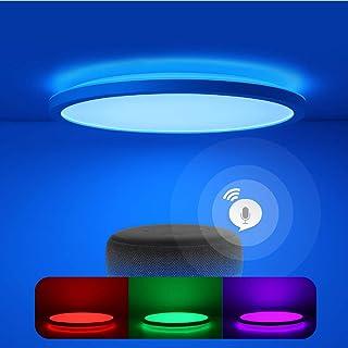 Smart Plafonnier LED plat avec changement de couleur avec télécommande, plafonnier compatible avec Alexa Google Home, 24 W...