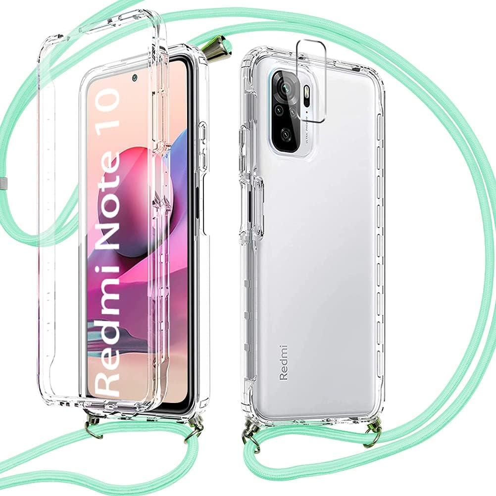 Pnakqil Funda con Cuerda para Xiaomi Redmi Note 10 4G/10S + 1 x Película de Lentes Estuche para teléfono de Silicona TPU Suave de 360 Grados con cordón Ajustable para Correa para el Cuello - Verde