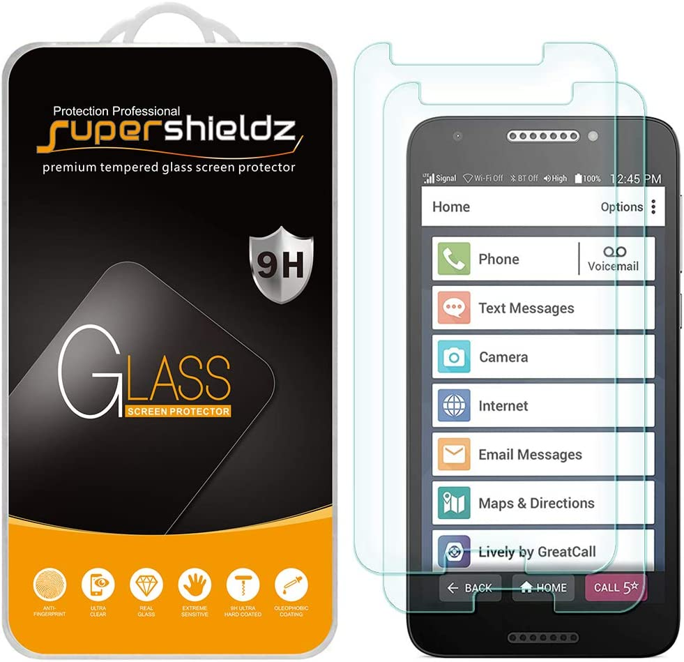 (2 Pack) Supershieldz Designed for Jitterbug Smart2 Tempered Glass Screen Protector, Anti Scratch, Bubble Free