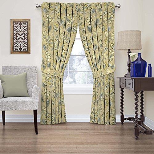 "WAVERLY Fashion Curtains for Bedroom-Brighton Blossom 52"" x 63""-Rod Pocket Single Panel Privacy Window Treatment Living Room, Flax"