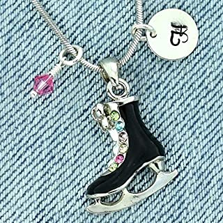 Figure Ice Skate Personalized Black Pendant Necklace Hand Stamped Round Initial Letter Charm Sparkling Multi Color Crystals Birthstone Charm Chain Custom Gift Jewelry