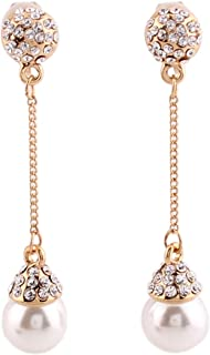 Bridal Gold Plated Full Rhinestone Long Drop Earrings and Clip on Earrings Without Piercing