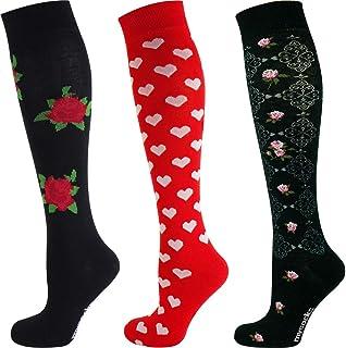 Calcetines altos florales para mujer