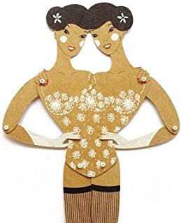 Siamese twins articulated paper doll, hand painted Siren paper puppet with movable parts