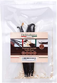 Delitaliana Gourmet Vanilla Beans, Approximately 5~6 Inches (Pack of 5)