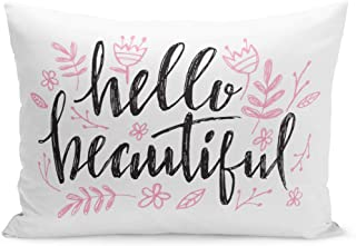 Semtomn Throw Pillow Covers Pink Gorgeous Hello Beautiful Lettering Heart Phrase for Baby Birthday Beauty Watercolor Girl Pillow Case Cushion Cover Lumbar Pillowcase for Couch Sofa 20 x 26 inchs