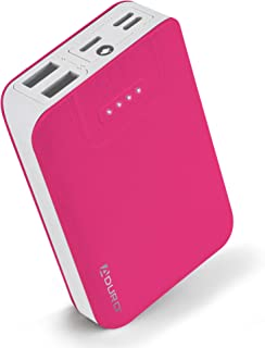 Aduro Portable Charger Power Bank 10,000mAh External Battery Pack Phone Charger for Cell Phones with Dual USB Ports for iPhone, iPad, Samsung Galaxy, Android, and USB Devices (Pink/White)