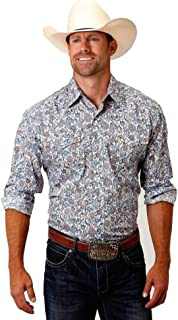 Apparel Men's Long Sleeve Snap Shirt, Sky Paisley