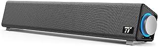 PC スピーカー TaoTronics ステレオ USB サウンドバー 小型 大音量 高音質 (マイク端子とヘッドホン端子付、高い互換性) USB給電 AUX接続 テレビ / パソコン / スマホ 対応 TT-SK018