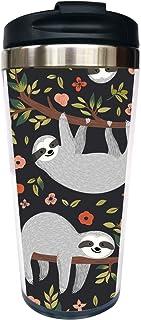 Waldeal Sloth Travel Coffee Mug with Flip Lid, Animal Stainless Steel Water Bottle Tumbler Cup 15 OZ for Men Women Kids