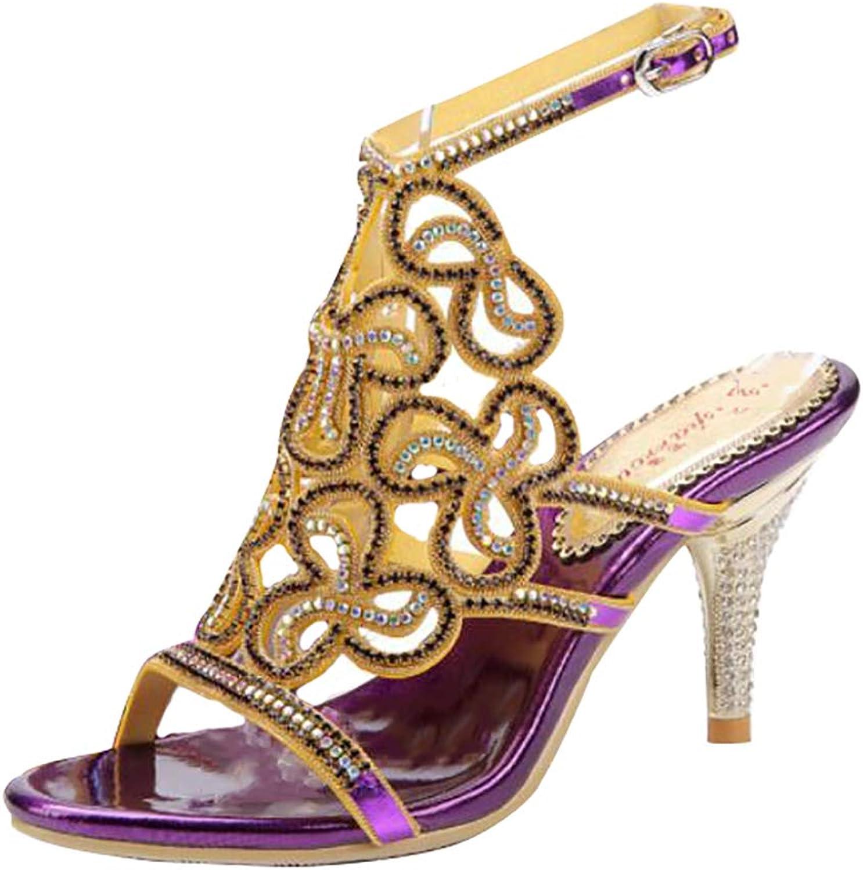 Women's Sandals Bright Heels Sexy Rhinestone Peep Toe Slipper Wedding Club