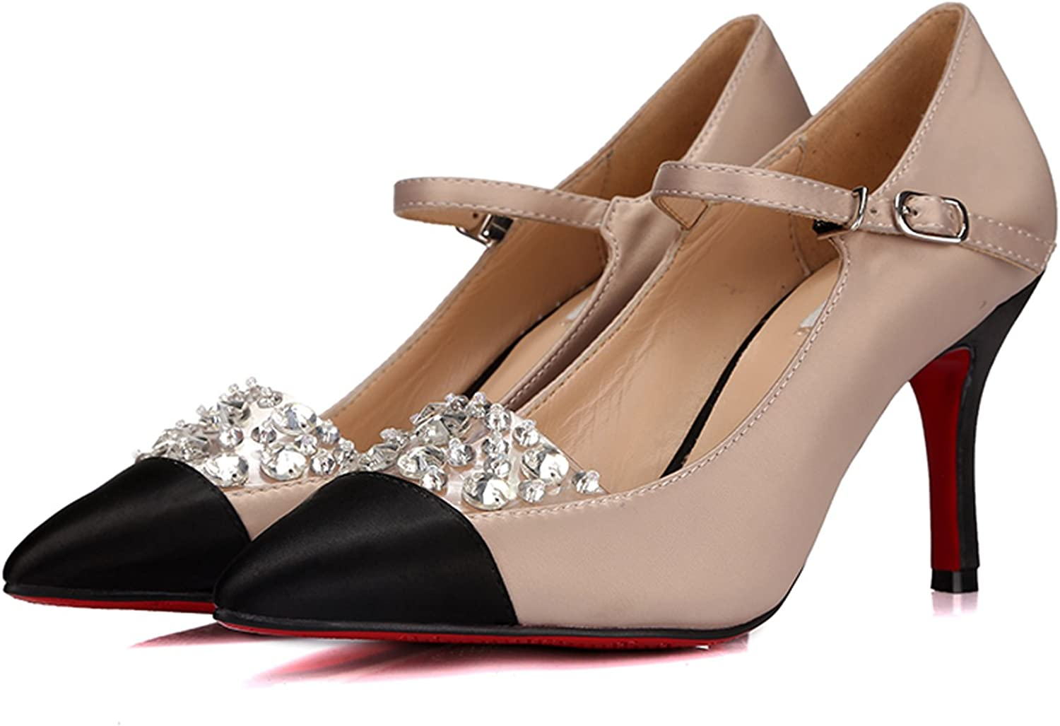 MINIVOG Cap-Toe Patent-Leather Ankle Strap Womens Pumps shoes with Rhinestones
