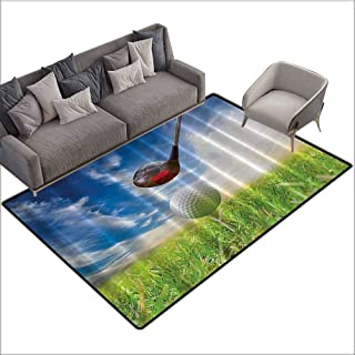 Floor Mats For Living Room Golf Masculine,Sports Clubs Decor Field Home Man Cave Wall Art Sport Fathers Day Retirement Gifts for Him Art Picture Print s,Green Blue White 48