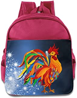 DiadsJun Colorful Rooster Boys Girls Cartoon School Backpacks RoyalBlue