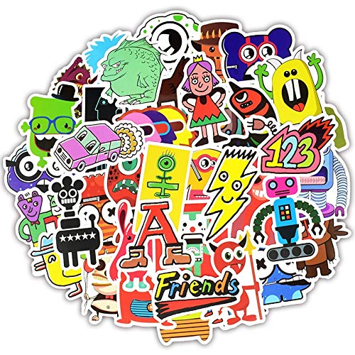BLOUR 50 Stück Monster Doodle Aufkleber Lustige Graffiti Cartoon Charakter Roboter Aufkleber auf DIY Gepäck Laptop Fahrrad Skateboard Gitarre F5