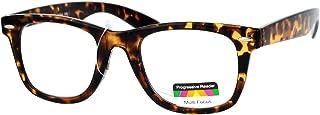 Multi Focus Progressive Reading Glasses 3 Powers in 1 Reader Square Horn Rim