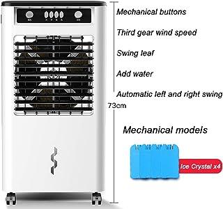 Air Cooler Compacto Enfriador Aire Humidificador Purificar Portátil Aire Acondicionado Caja De Cristal De Hielo 8 Horas Temporizador 3 Velocidades 14l Watertank Teledirigido White A 38 * 30 * 73cm