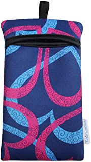 Tainada Shockproof Phone Neoprene Sleeve Carry Bag Pouch with Neck Lanyard & Carabiner for iPhone 11, 11 Pro Max, XR, Xs Max, Samsung S10+,Note 10, Google Pixel 3, 3a XL, Moto Z4 (Heart Pattern Blue)