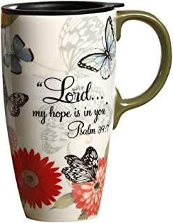 Topadorn 17 OZ Ceramic Coffee Mug Travel Cup with Handle Sealed Lid and Gift Box