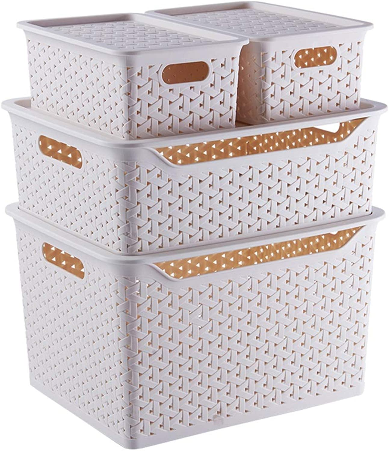 ZHANGQIANG Storage Basket Laundry Basket Small Medium Large Big Plastic Storage Clear Box with Lid Strong Stackable Container Made in U.K. - Set of 4 (color   White, Size   Four-Piece Set)
